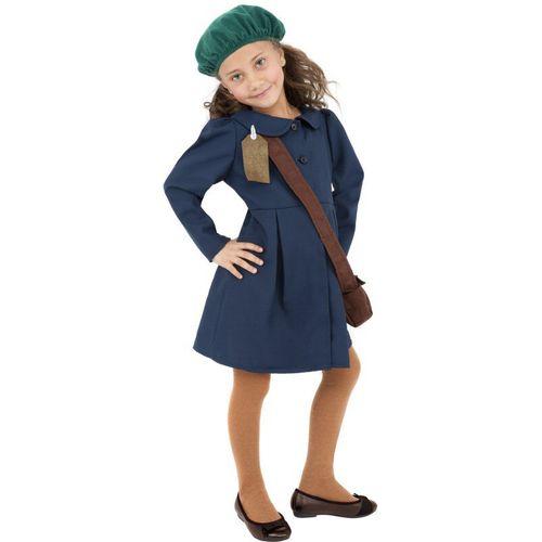 1940`s Evacuee Girl Historical Book Week Kids School Fancy Dress Costume