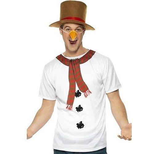 Snowman Costume T Shirt Hat Carrot Nose Fancy Dress Mens Christmas Xmas