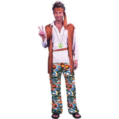 60`s Hippy Woodstock Hippy Man Fancy Dress Costume Size M-L Fancy Dress Outfit