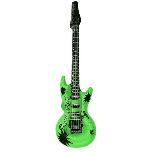 Neon GreenPrint Inflatable Guitar Approx 106cm Fancy Dress Prop