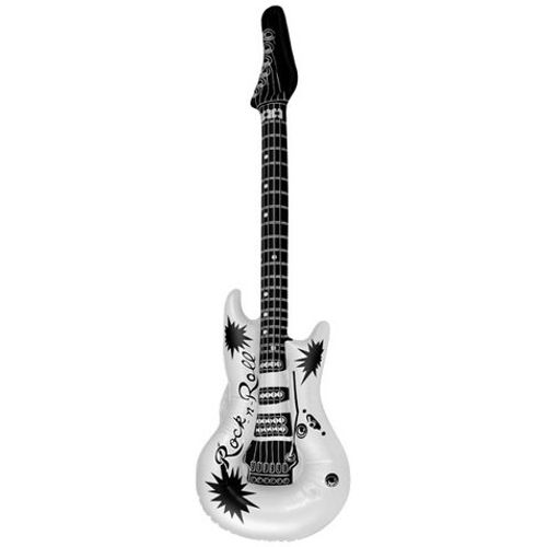 White Print Inflatable Guitar Approx 106cm Fancy Dress Prop
