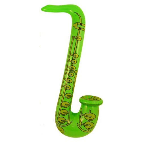 Neon Green Print Inflatable Saxophone Approx 75cm Fancy Dress Prop