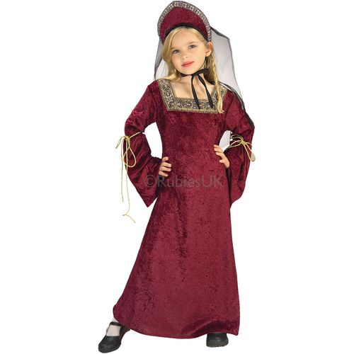 Lady Of The Palace Fancy Dress Medieval Kids Costume Outfit Age 5 - 7