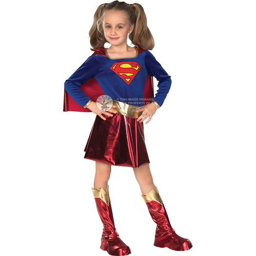 Deluxe Supergirl Costume Outfit Kids Childs Super Hero Book Week