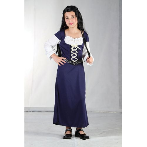 Blue Medieval Maid Marion Fancy Dress Costume 9 - 11 Years