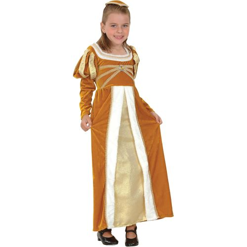 Medieval Regal Princess Fancy Dress Costume Outfit Girls Historical 5 - 7