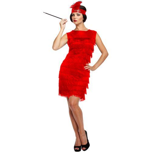 Red Flapper Dress Fancy Dress Costume Size 10-12