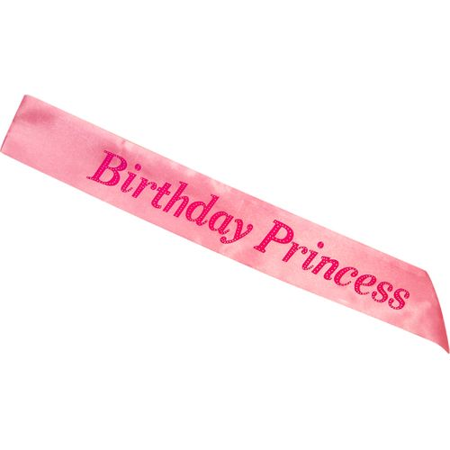 Pink Birthday Princess Sash Party Accessory