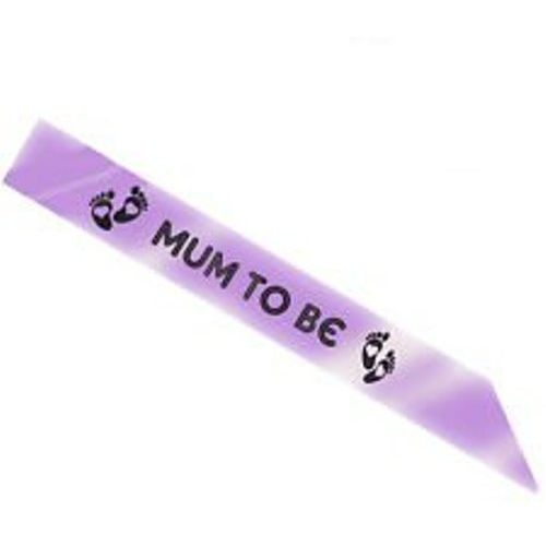 Lilac Mum To Be Sash Baby Shower Party Accessory