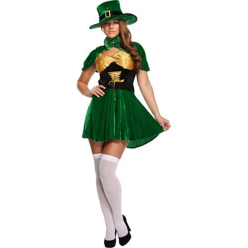 Sexy Irish Leprechaun Lady St Patricks Day Fancy Dress Costume Size 12-14