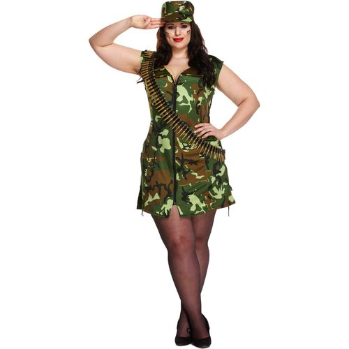 Sexy Army Girl Plus Size Fancy Dress Costume Size 16-18