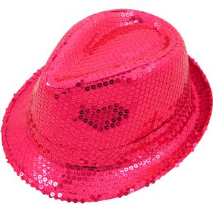 Sequin Gangster Trilby Hat (Hot Neon Pink)