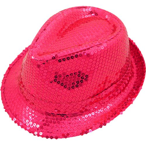 Hot Neon Pink Sequin Trilby  Gangster Hat Fancy Dress Costume Accessory