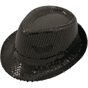 Sequin Gangster Trilby Hat (Black)