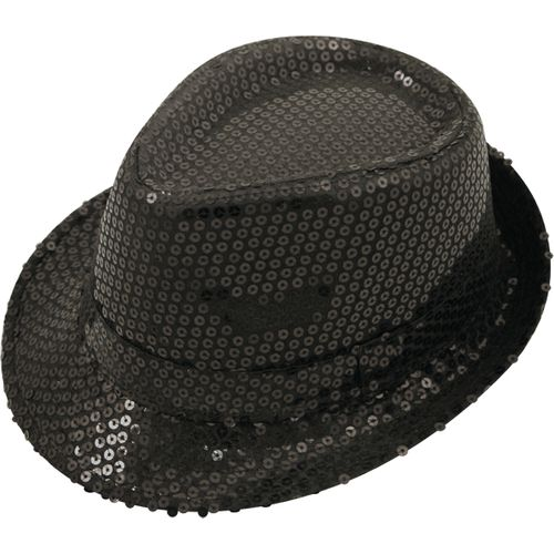 Black Sequin Trilby  Gangster Hat Fancy Dress Costume Accessory