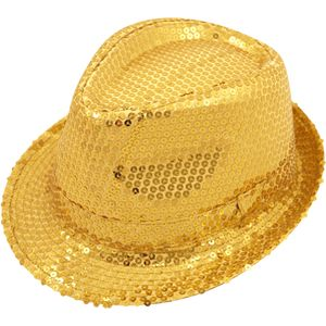 Sequin Gangster Trilby Hat (Gold)