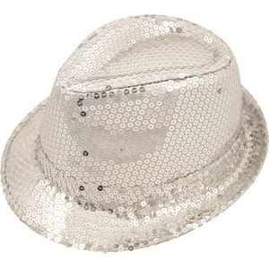 Sequin Gangster Trilby Hat (Silver)