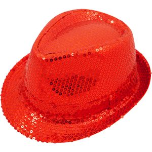 Sequin Gangster Trilby Hat (Red)