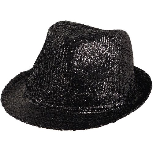 Black Tinsel Trilby Gangster Hat Fancy Dress Costume Accessory