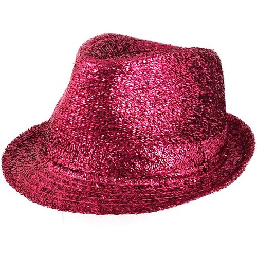 Hot Pink Tinsel Trilby  Gangster Hat Fancy Dress Costume Accessory