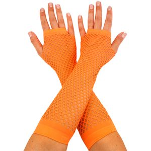 Fingerless Fishnet Gloves (Neon Orange)