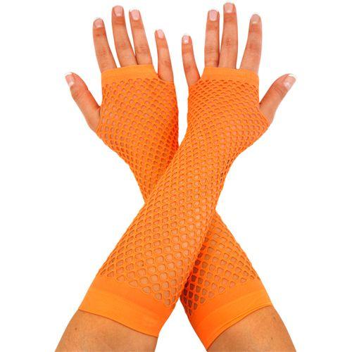 Neon Orange Fishnet Fingerless Gloves Fancy Dress Costume Accessory