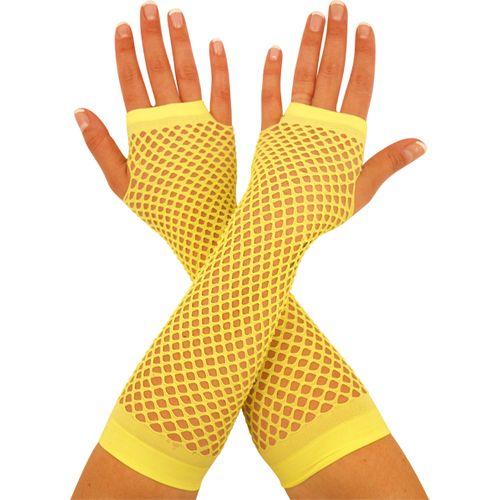 Neon Yellow Fishnet Fingerless Gloves Fancy Dress Costume Accessory