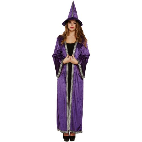 Purple Sorceress Cloak & Hat Halloween Fancy Dress Costume Size 12-14