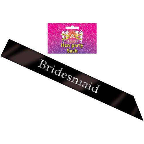 Black Bridesmaid Sash Hen Party Accessory