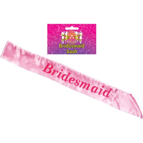 Pink Bridesmaid Sash Hen Party Accessory