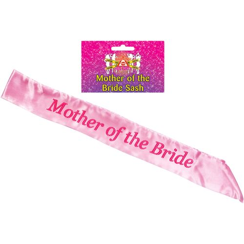 Pink Mother of the Bride Sash Hen Party Accessory