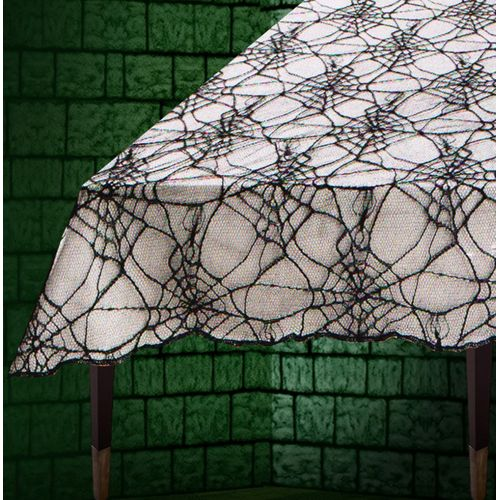 Spider Web Lace Table Display Cloth 180 x130cm Halloween Party Accessory