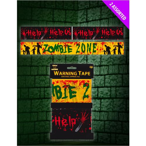 Zombie Warning Decoration Tape 2 Pack Halloween Horror Room Decoration