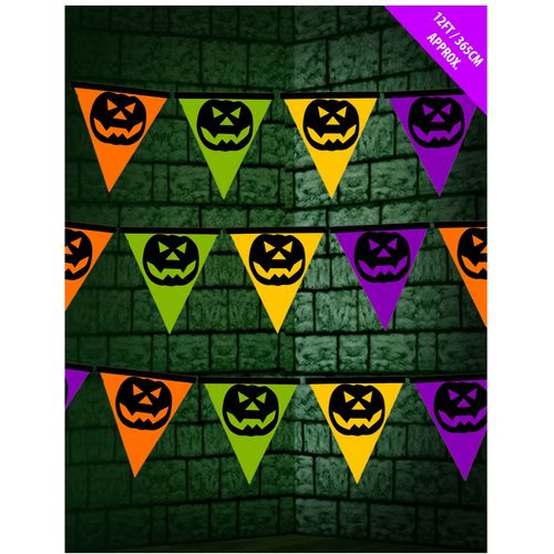 Multi Coloured Pumpkin Pennant Bunting Banner 2 Pack Halloween Party Room Decoration