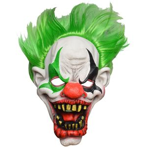 Horror Clown Latex Full Head Mask With Green Hair