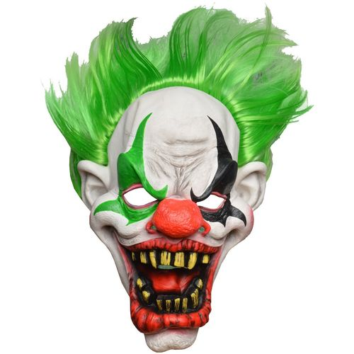 Horror Clown Latex Full Head Mask With Green Hair Halloween and Fancy Dress Accessory