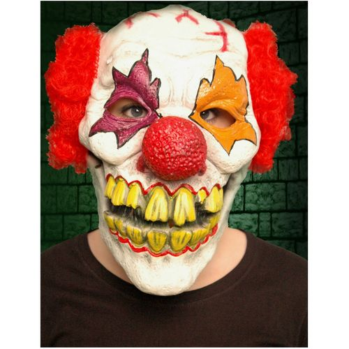 Menacing Clown Latex Overhead Mask With Red Hair Halloween and Fancy Dress Accessory