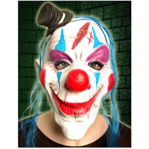 Clown With Mini Top Hat Latex Overhead Mask Halloween and Fancy Dress Accessory