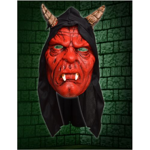 Devil Hooded Face Mask Halloween and Fancy Dress Accessory