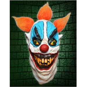 Horror Clown Latex Full Head Mask With Orange Hair