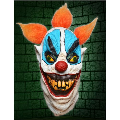 Horror Clown Latex Full Head Mask With Orange Hair Halloween and Fancy Dress Accessory