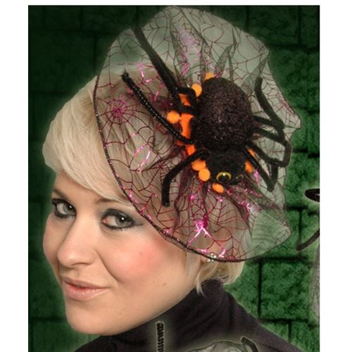 Spider Fascinator Head Dress Orange Trim Halloween Fancy Dress Costume Accessory