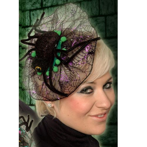 Spider Fascinator Head Dress Green Trim Halloween Fancy Dress Costume Accessory