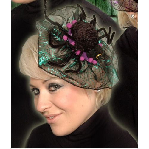 Spider Fascinator Head Dress Purple Trim Halloween Fancy Dress Costume Accessory
