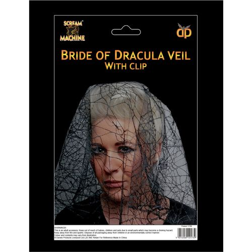 Bride Of Dracula Veil With Hair Clip Halloween Fancy Dress Costume Accessory