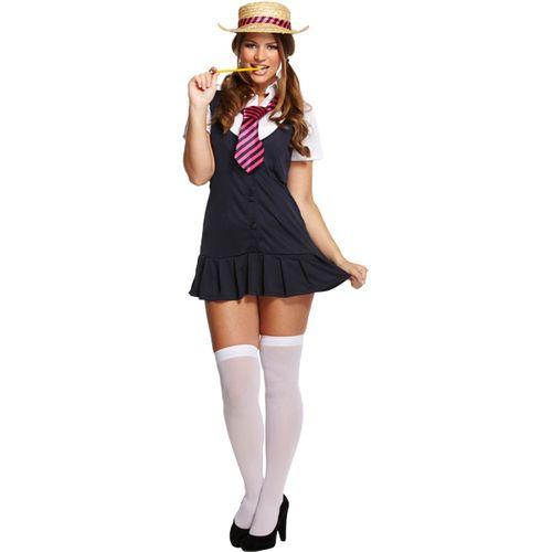 Sexy School Girl Fancy Dress Costume Size 12-14