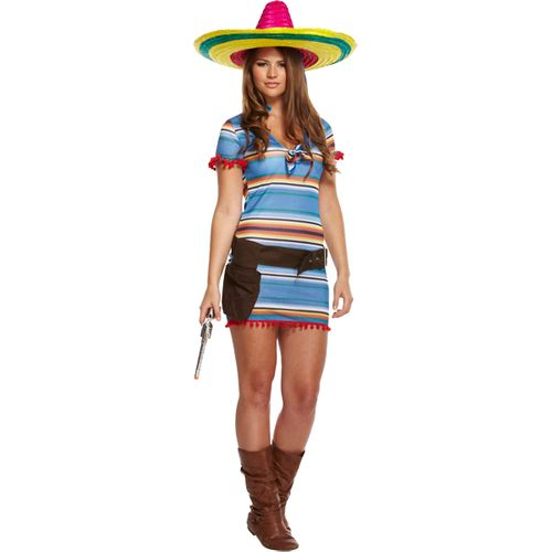 Mexican Tequila Girl Fancy Dress Costume Size 12-14