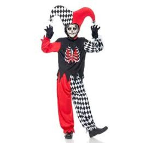 Childs Blood Curdling Jester Halloween Fancy Dress Costume Age 10-12 Years
