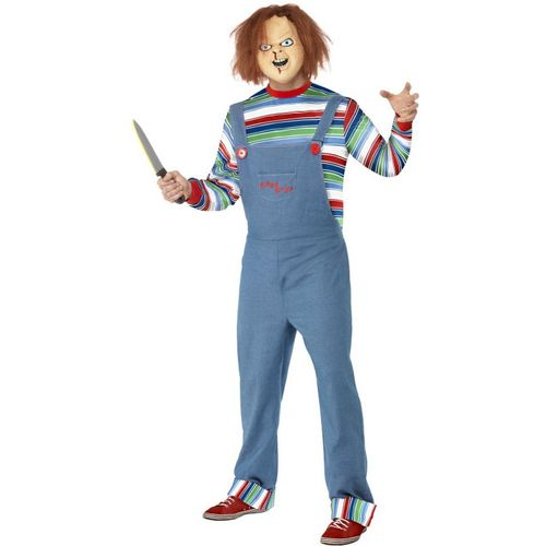 Official Mens Chucky  Halloween Fancy Dress Costume Size Large