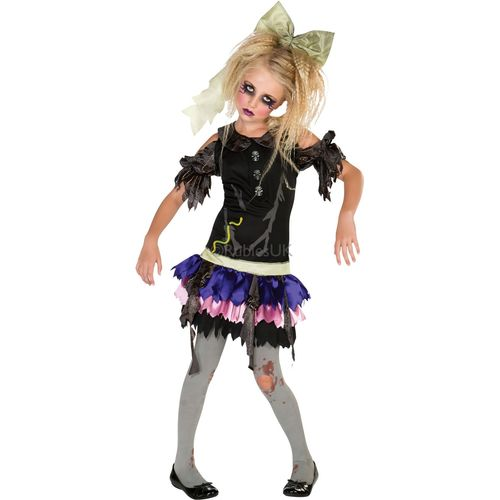 Childs Zombie Girl Halloween Fancy Dress Costume Age 3-4 Years